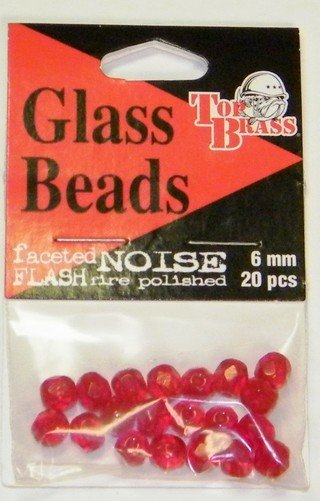 Top Brass Glass Beads 6 mm Ruby Red  20 pcs.
