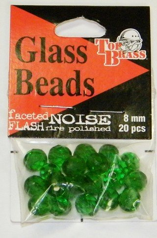 Top Brass Glass Beads 8mm Green Beads 20 pcs.