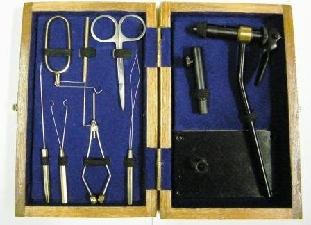 Portable Fly Tying Kit with Wooden Case.